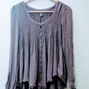 Free People S P Purple Shirt Made in India Rayon